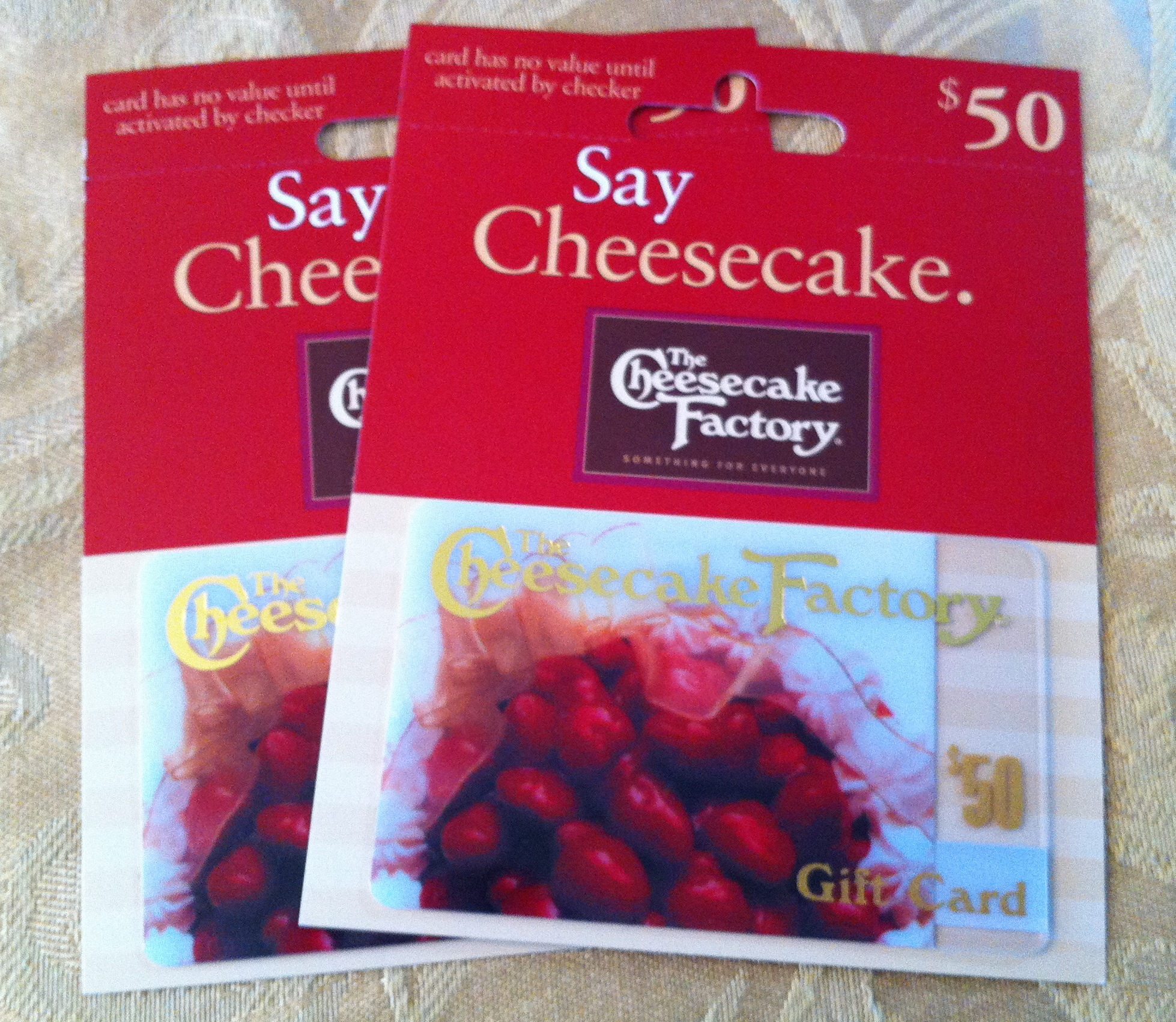 Think about any restaurants you may eat at while you are there. We always have a special dinner at the Cheesecake Factory, so I picked up $100 in gift cards ...