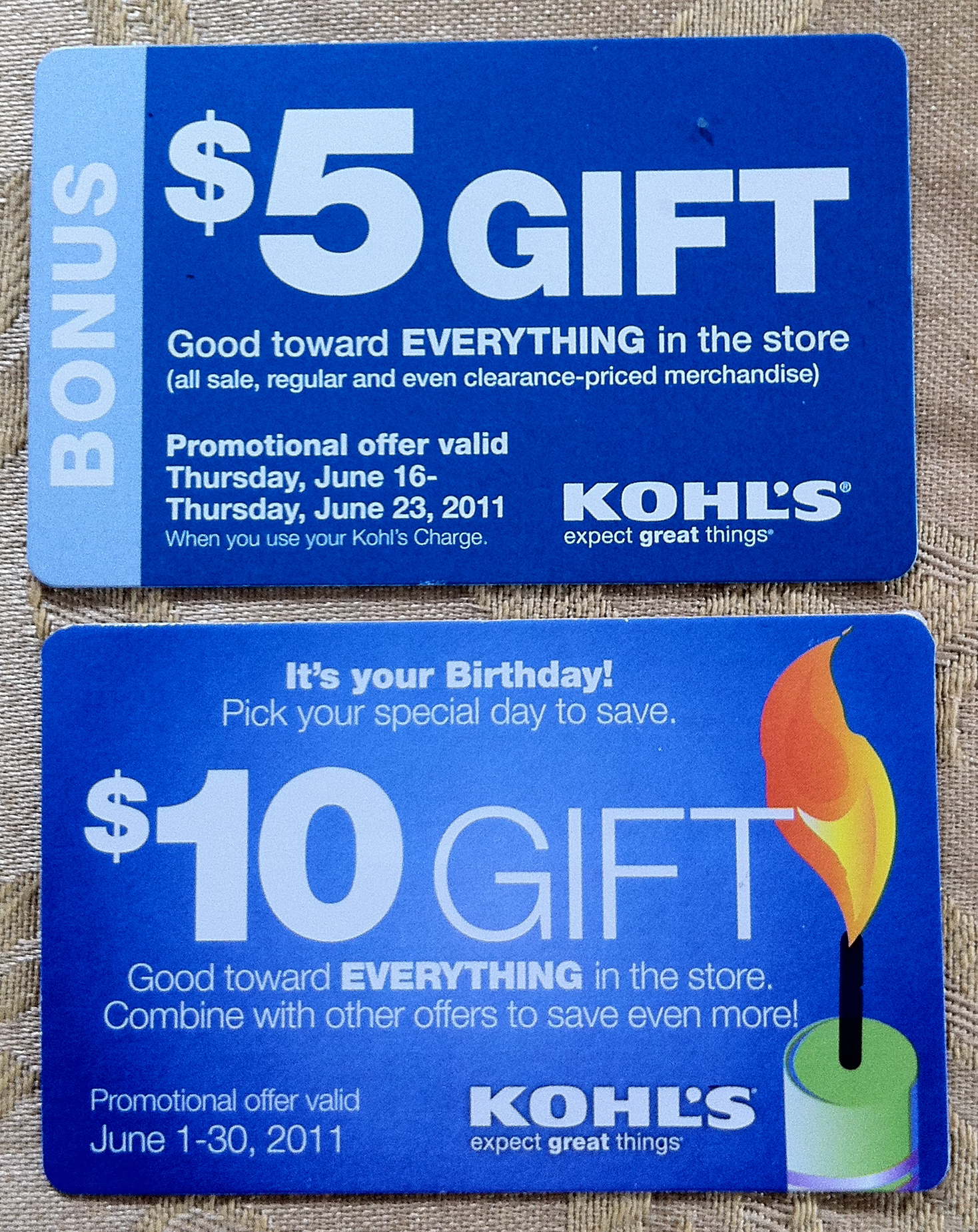 FREE $10 Kohl's Yes2You Rewards for Your Birthday Join Kohl's Yes2You Rewards and they'll send you a free $10 coupon during your birthday month! Plus with Kohl's Yes2You Rewards you'll earn 1 point for each dollar you spend.
