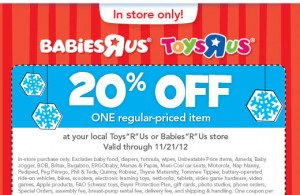 photograph about Babies R Us 20 Off Coupon Printable titled Toys Toddlers R Us: 20% off Every month Value Product Coupon