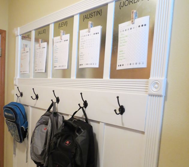 Spring cleaning bash laundry room craft storage Ideas for hanging backpacks