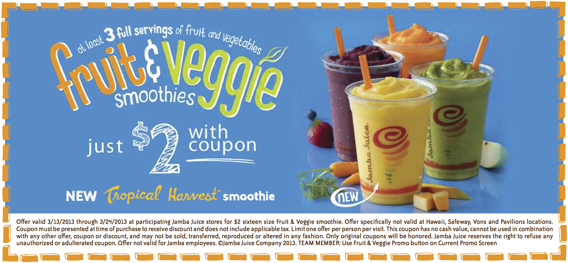 photograph regarding Tropical Smoothie Coupons Printable identified as Jamba Juice: $2 Fruit Veggie Smoothies Coupon - Thrifty
