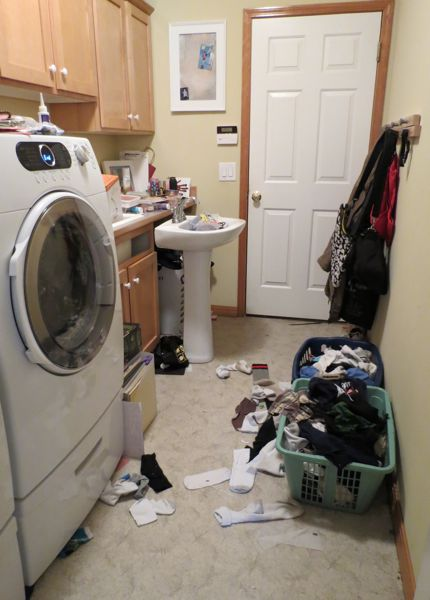 messy laundry room