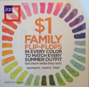 JCPenney $1 Flip Flops