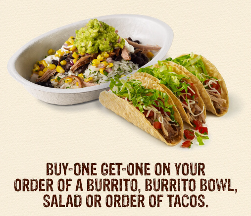 Chipotle coupons buy one get one free