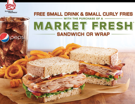 image about Arbys Coupon Printable referred to as Arbys: Totally free Fry Consume with Market place Refreshing Sandwich or Wrap