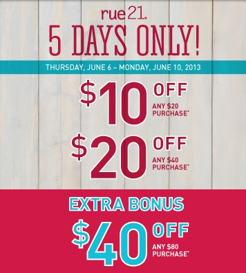 picture about Rue 21 Coupons Printable identified as Rue21: $10 off $20 Coupon - Thrifty and Productive