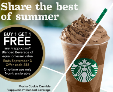 starbucks buy 1 get 1 frappuccino free coupon thrifty and thriving