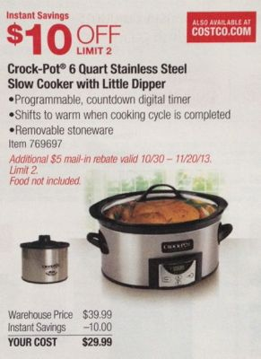 Costco CrockPot 6 Qt Slow Cooker Little Dipper only 2499