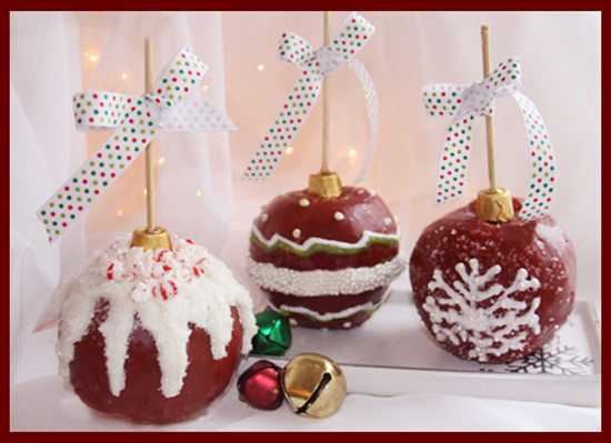 Homemade Caramel Apples dressed up to look like Christmas Ornaments