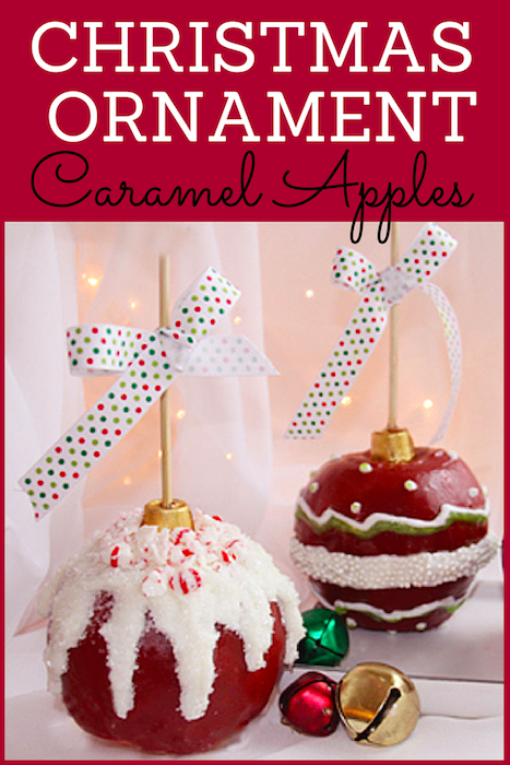 Christmas Ornament Caramel Apples with Homemade Caramel