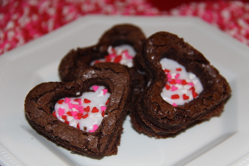 Creme Filled Heart Brownies. Super easy, use boxed brownie mix.