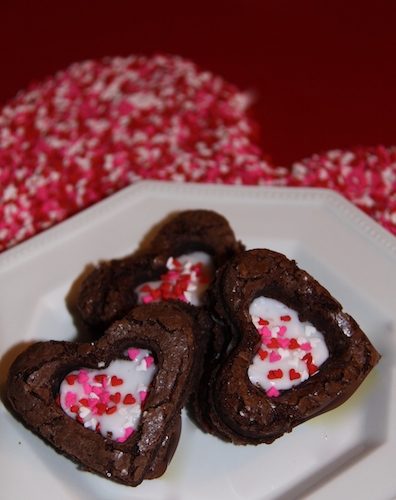Creme Filled Heart Brownies - Great for Valentine's Day!   Super easy, use boxed brownie mix.