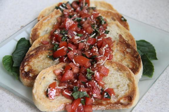 Add Bruschetta mixture on top of bread