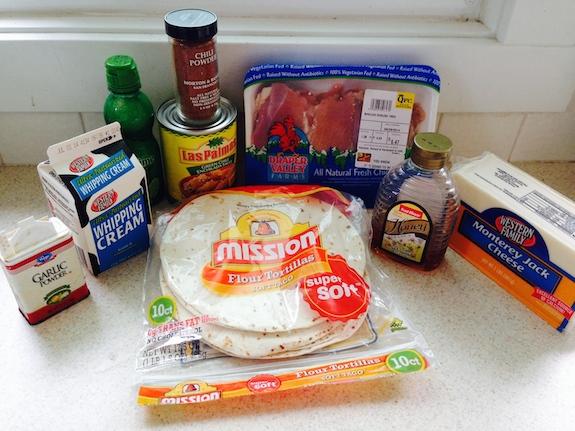 Ingredients for honey lime chicken enchiladas