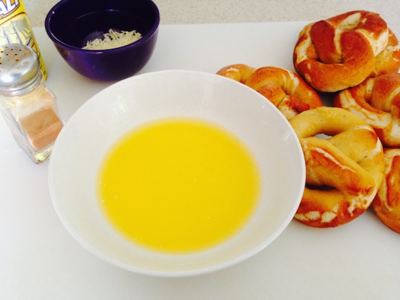 Add toppings to Homemade Soft Pretzels