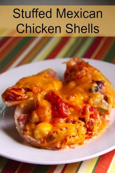 Stuffed Mexican Chicken Shells - Great freezer cooking meal too!