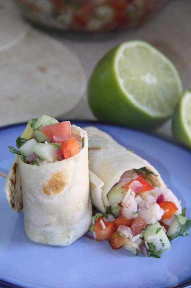 Summer Shrimp Salsa Wraps. Perfect meal for a HOT summer day!