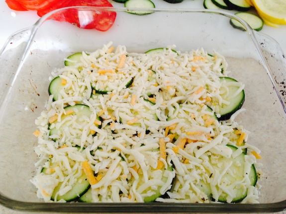 layer veggies and cheese