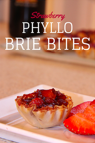 Strawberry Phyllo Brie Bites