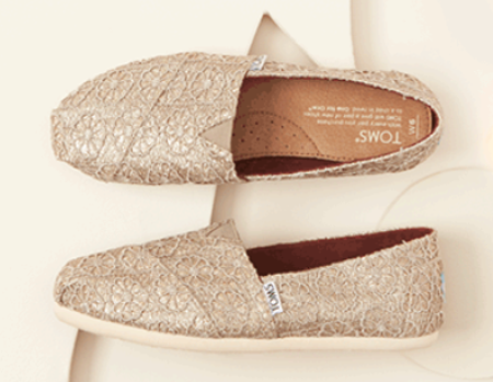 Toms Save 20 Off Limited Edition Gold Glitter Crochet Classics