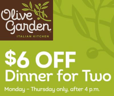 Olive Garden: Get $6 off Dinner for Two