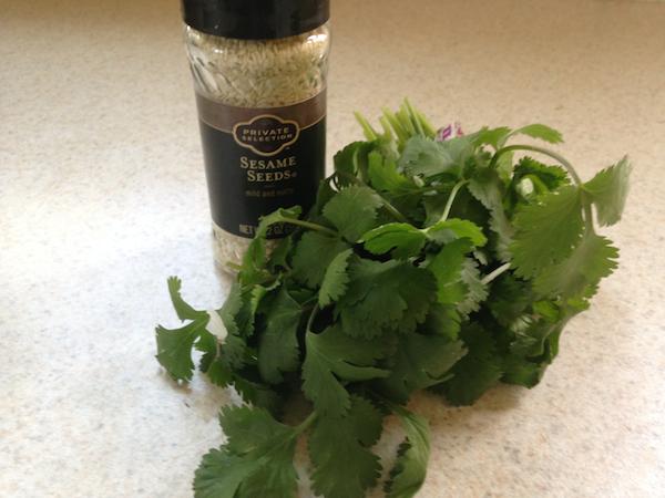 garnish with cilantro and sesame seeds