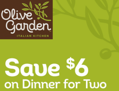 Olive Garden: Get $6 off Dinner for Two
