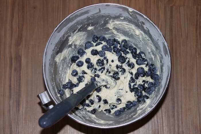 Fold in blueberries