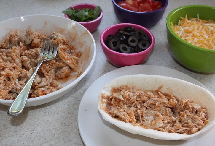 Add contents to Old El Paso Taco Bowls