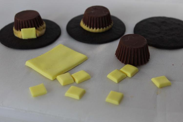Assembling Pilgrim Hat cookies