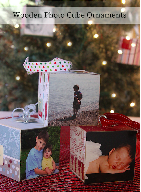 Wooden Photo Cube Ornaments - Easy and fun to make!