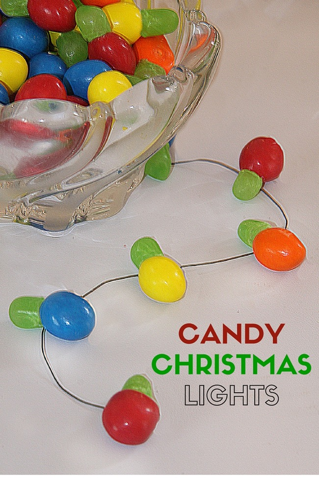Candy Christmas Lights out of m&ms and Mike and Ikes