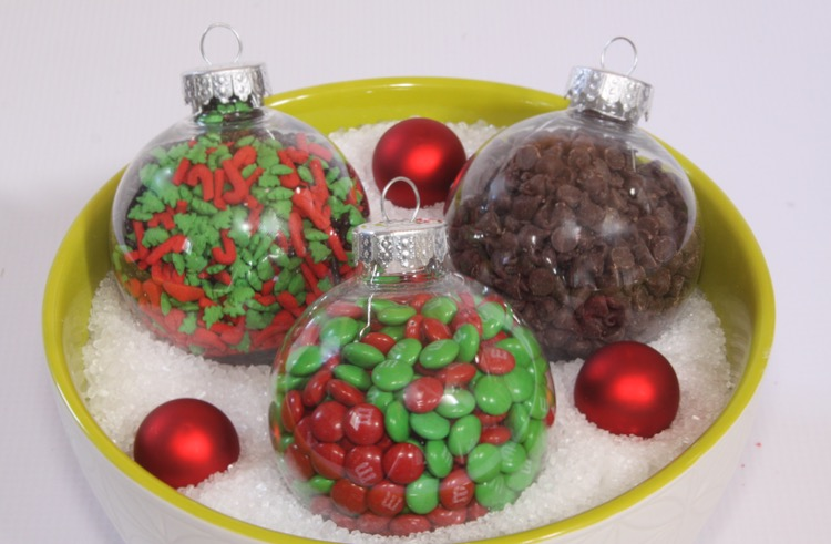 Place ice cream toppings in plastic ornaments