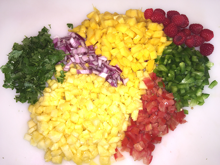 Dice fruit and veggies