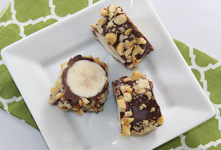 Slice and enjoy Frozen Chocolate Bananas