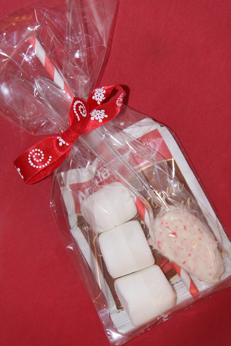 tie hot cocoa kit with ribbon
