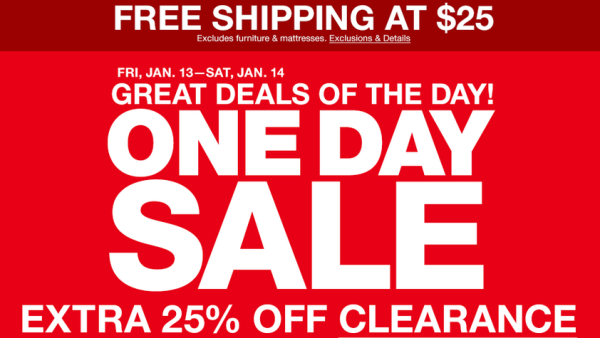 one day sale today