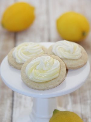 Shortbread Cookies with Cream Cheese-Lemon Curd Frosting