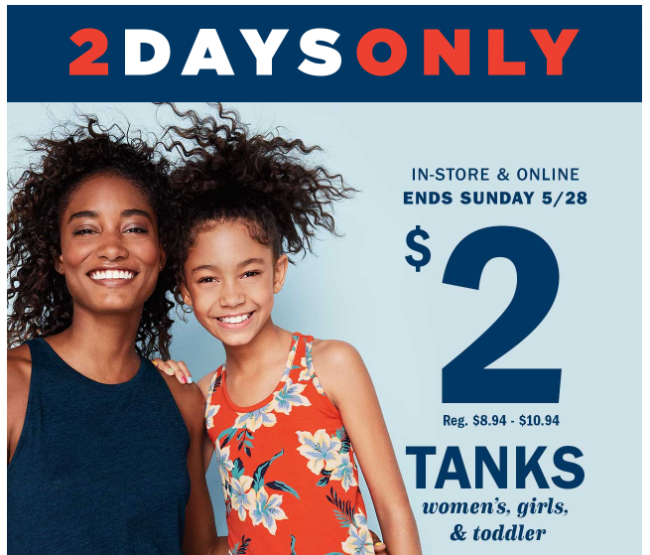 63782b23ee30c5 Old Navy is also offering  2 tanks for women