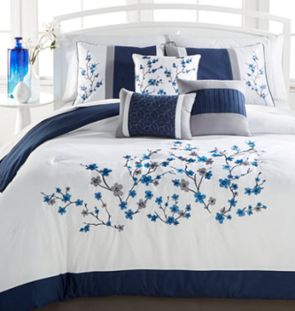 Perfect Kira Navy Pc Comforter Set Full California King reg