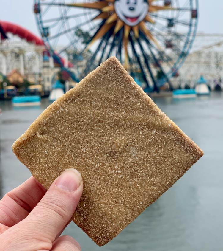 churro toffee is held in hand, the mickey ferris wheel is in the background