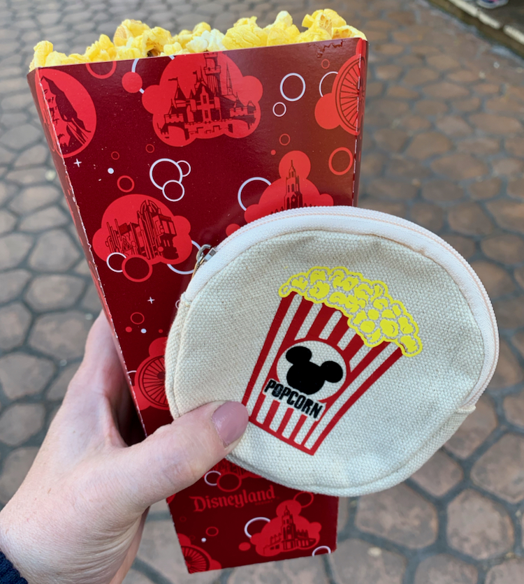 popcorn and homemade snack carrying case with mickey ears on it