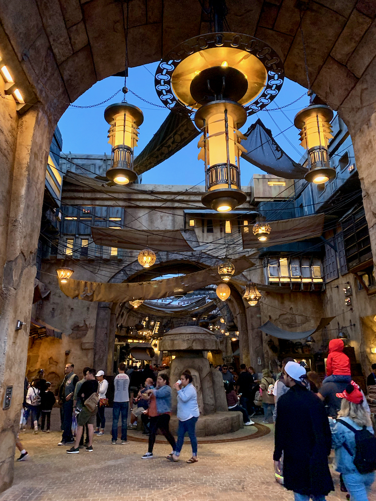 lamps and night life at star wars land