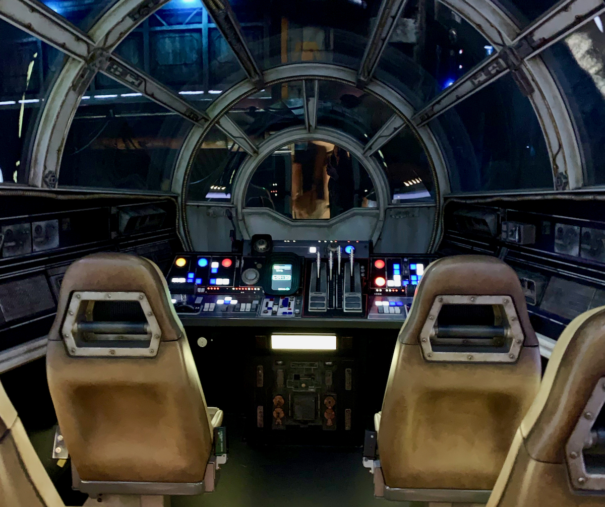 pilots seats in the millenium falcon at galaxys edge