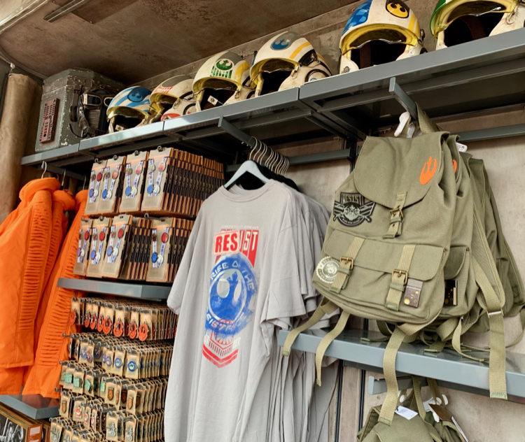 star wars shirts, backpacks, and helmets