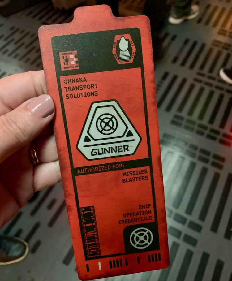 a gunners badge from the smugglers run ride at star wars